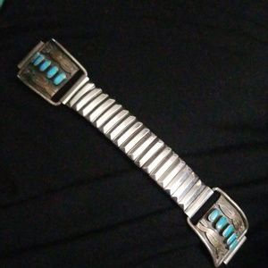 Vintage Silver Turquoise Decorated Watch band